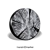 cardinals jeep tire cover - Spare Tire Cover,Scary Winter Tops of The Trees Dark Dramatic Silhouettes Enchanted Image,Black Grey,for Jeep Trailer SUV RV and Many Vehicles,17 Inch