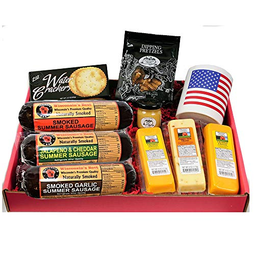 Ultimate USA Gift Basket - features USA Flag Mug, Smoked Summer Sausages, 100% Wisconsin Cheese, Crackers, Pretzels and Mustard
