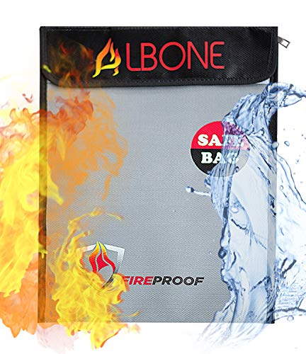 ALBONE Fireproof Money and Document Bag 15'' x 11''|Fire Resistant Safe Zip and Velro for Cash, Jewelry ()