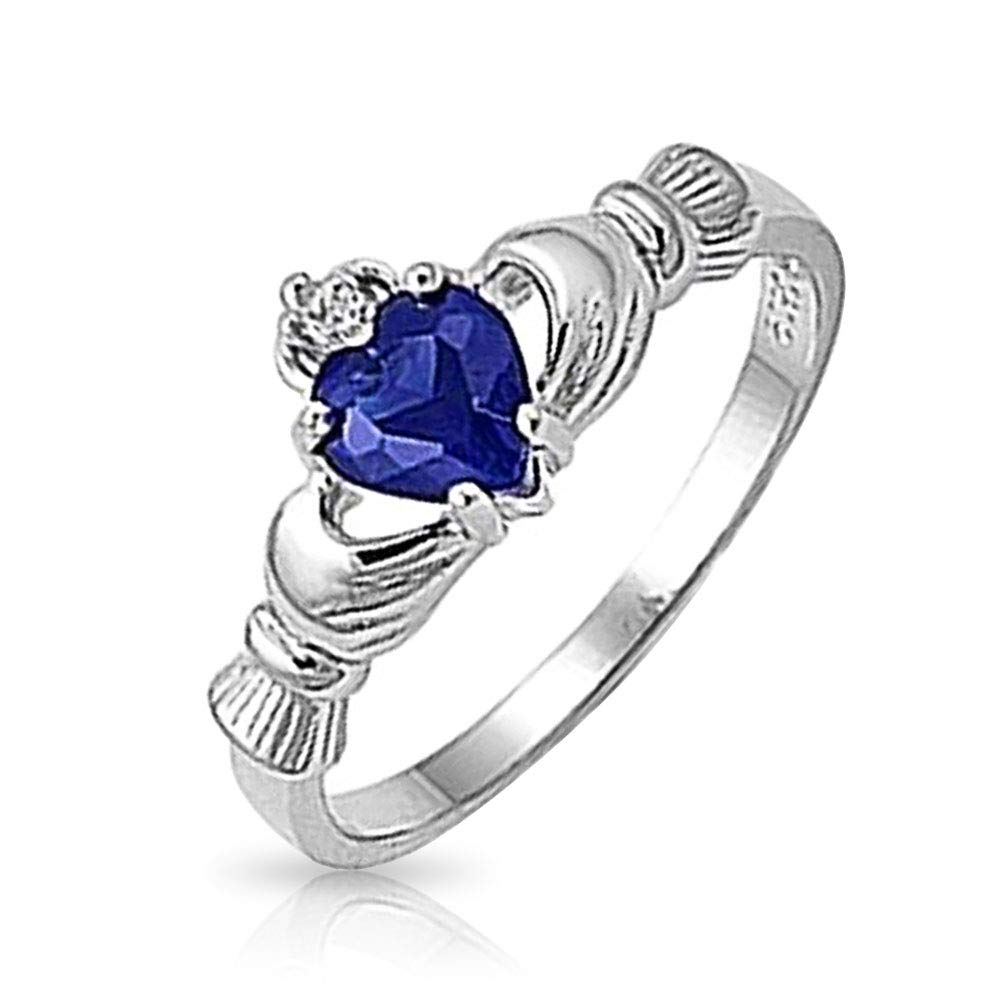Bling Jewelry Sterling Silver Simulated Sapphire Heart Claddagh Ring SI-RC103533-0004