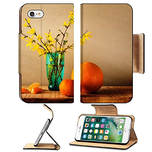 MSD Premium Apple iPhone 7 Flip Pu Leather Wallet Case Still life with a spring bouquet of yellow forsythia and oranges IMAGE 32092744