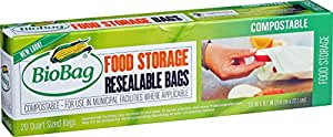 BioBag Resealable Compostable Quart Size Food Storage Bags, 20 Count