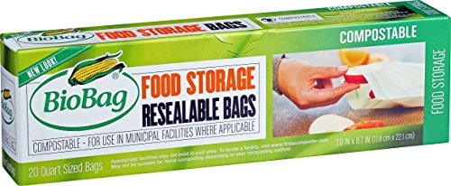 Biobag Resealable Compostable Food Storage Bags, Quart, 20 Count