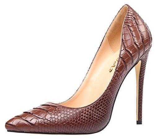 AOOAR Women's High Heel Snakeskin-Print Brown PU Party Pumps 9 M ()