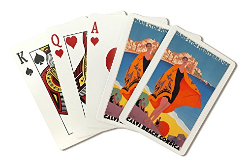 France - Calvi Beach Corsica - (artist: Broders, Roger c. 1928) - Vintage Advertisement (Playing Card Deck - 52 Card Poker Size with Jokers)