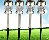 elegantstunning Solar Powered LED Garden Lights Stainless Steel White Set of 6