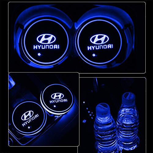 Aswelly LED Car Cup Holder Lights, 2PCS Car Logo Cup Coaster with 7 Colors Changing USB Charging Mat, Luminescent Cup Pad Interior Atmosphere Lamp Cool Car Accessories for Hyundai ()