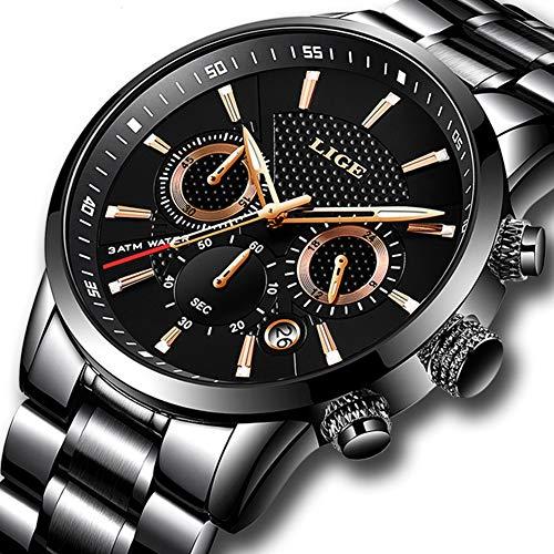 Men Watches Quartz Fashion Stainless Steel Black Analog Watch Men Luxury Brand Sports Waterproof Clock Round Wrist Watch (Black) ... (Chrome Watch)