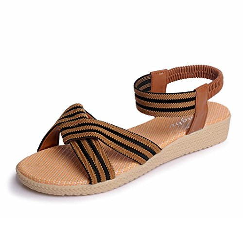 Marron Transer Peep Bohème sandales tongs doux plat ® Toe rayé Femmes 6qv6r