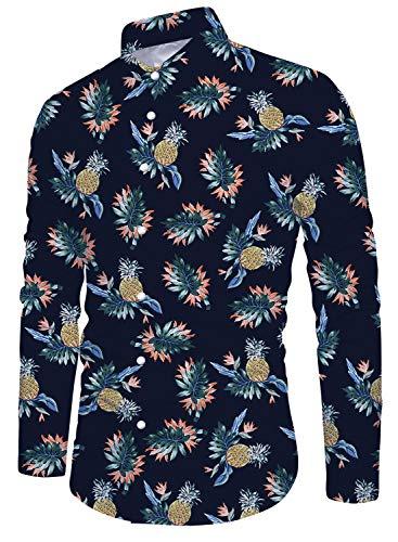 - Uideazone Men's Stylish Aloha Hawaiian Shirt Tropical Vacation Pineapple Casual Shirt Long Sleeve Large