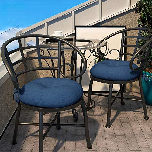 """LVTXIII OUTDOOR ALL WEATHER BISTRO SEAT CUSHIONS, COMFORTABLE FLUFFY TUFTED PATIO CHAIR CUSHIONS ROUND 15""""X15""""X5"""" SET OF 2 FOR HOME GARDEN FURNITURE, NAVY TEXTURED"""