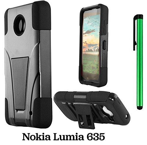 Nokia Phone Stylus (Premium UCASE With Kickstand Cover Case For Nokia Lumia 635 (US Carrier: T-Mobile, MetroPCS, and AT&T) + 1 of New Assorted Color Metal Stylus Touch Screen Pen (BLACK T-Stand))