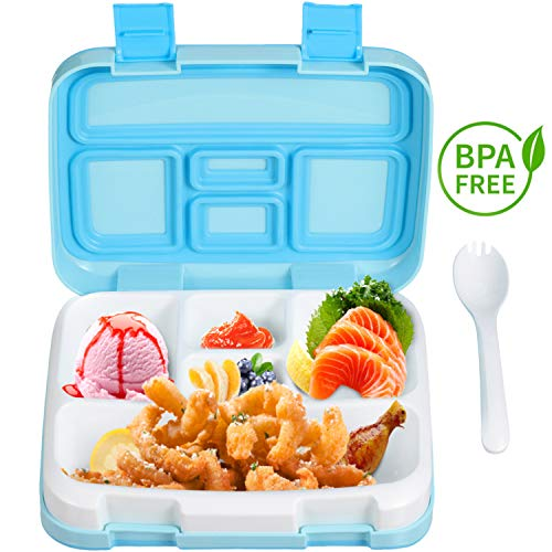 Comfook Lunch Box for Kids, Childrens Bento Box, BPA-Free, Lunch Container with Spoon 5 Compartment Leak Proof Durable for School Picnics Travel ()