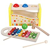 Wooden Pounding and Hammering Bench with Silde Out Xylophone Educational Toys Set for Kids Toddlers
