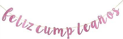 INNORU Feliz Cumpleaños Banner - Happy Birthday Sign Pink and Gold Glitter Birthday Party Decoration Supplies