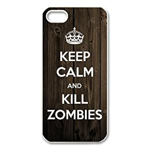 Custom Keep Calm And Kill Zombies Hard Back Cover Case for iPhone 4/4s by ruishername
