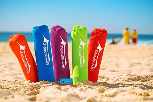 ZiggyShade UPF50 Lycra Fabric Standard Beach Sunshade Tent with Sandbag Anchors and 4 Pegs, Orange