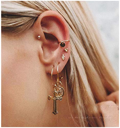 ACC PLANET Cross Earrings 14K Gold Plated Dangle Vintage Hoop Cross Earrings for Women Girls - Gold Plated Gold Tone Cross