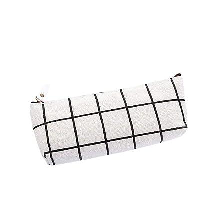 Fossrn Lienzo Estuche de Lápices de Cuadros Estuches Escolares 1 Cremalleras (Blanco)