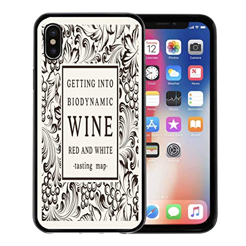 Emvency Phone Case for Apple iPhone Xs case,Red Vintage Label for Bottle of Wine Glasses and Bunch Grapes Pattern Vineyard for iPhone X Case,Rubber Border Protective ()