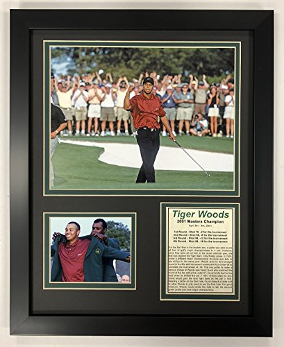 Legends Never Die PGA Tiger Woods 2001 Masters Champion Framed Double Matted Photos, 12