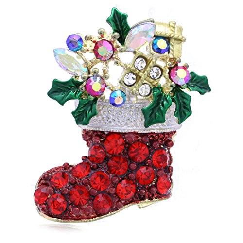 - SoulBreezecollection Merry Christmas Jewelry Red Stockings Mistletoe Flower Charm Brooch