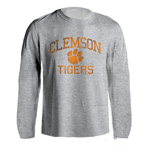 Logos Clemson University (Clemson University Tigers Distressed Retro Logo Tiger Paw Ash Heather Long Sleeve T-Shirt (Athletic Heather, S))