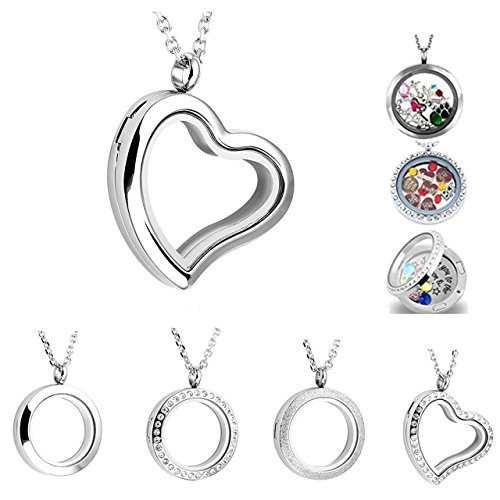 (PiercingJ Round Heart Stainless Steel Locket Floating Charm Pendant Necklace - 21.5