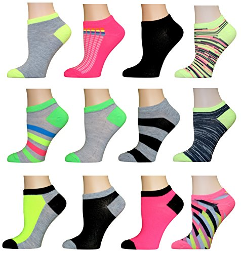 Top Step Women's No Show Performance Socks - 12 Pack, 16115-multi,Sock Size 9-11. Fits Shoe Size 4-10