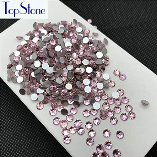 Pukido Rhinestones Flatback ss3-ss34 Nail Art Decorations Pink Lt Rose Color Non Hot Fix Glue on Crystal Rhinestone - (Color: 16ss 1440pcs)