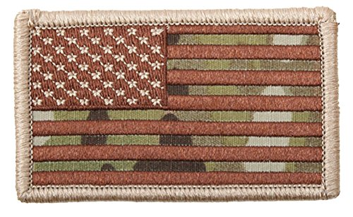 Forward American Flag Patch Multicam Color with Hook Backing