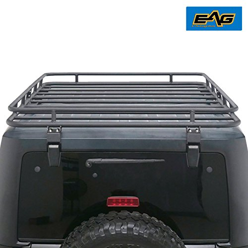 EAG Roof Rack Cargo Basket for 2007-2017 Jeep Wrangler JK (4.6' x 5.8' x 4.7'') by E-Autogrilles