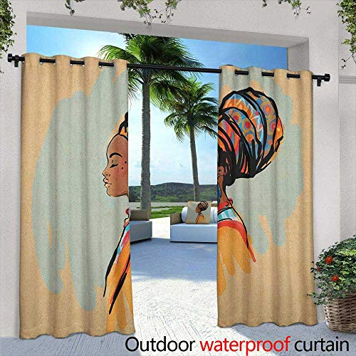 African Woman Indoor/Outdoor Curtains Watercolor Profile Portrait of Native Woman with Ethnic Hairdo and Earrings Room Darkening Thermal 84