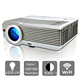 Home Projector WiFi, EUG HD Wireless LED Projector with HDMI USB VGA 1080P Support Built in Android Speakers for TV DVD Player Laptop Phone Gaming Movies