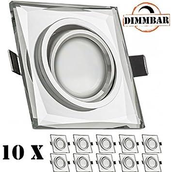LED Spot 5 Watt 5W DIMMBAR 110/° Abstrahlwinkel 35W Ersatz Einbauleuchte LED eckig A+ schwenkbar LED Einbaustrahler Set Wei/ß Kristall // Glas mit LED GU10 Markenstrahler von LEDANDO warmweiss