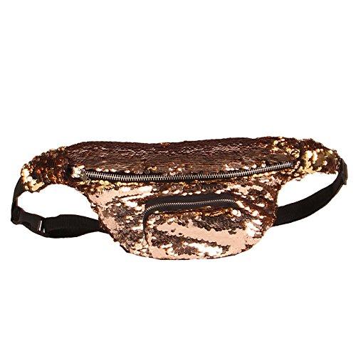 Waist Yoga Women Sequins Gym Backpack Bag For Gold Sports Shopping Travel Chest Shoulder Packs q7TUEZ7w