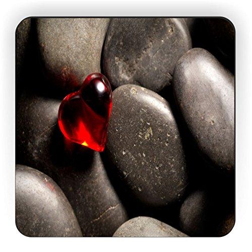 Rikki Knight Red Glass Heart on Pebbles Design Square Fridge Magnet
