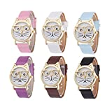 Navion New Fashion Gold Glasses Cat Leather Strap Girls Dress Jelly Watches Wholesales 6 Pcs