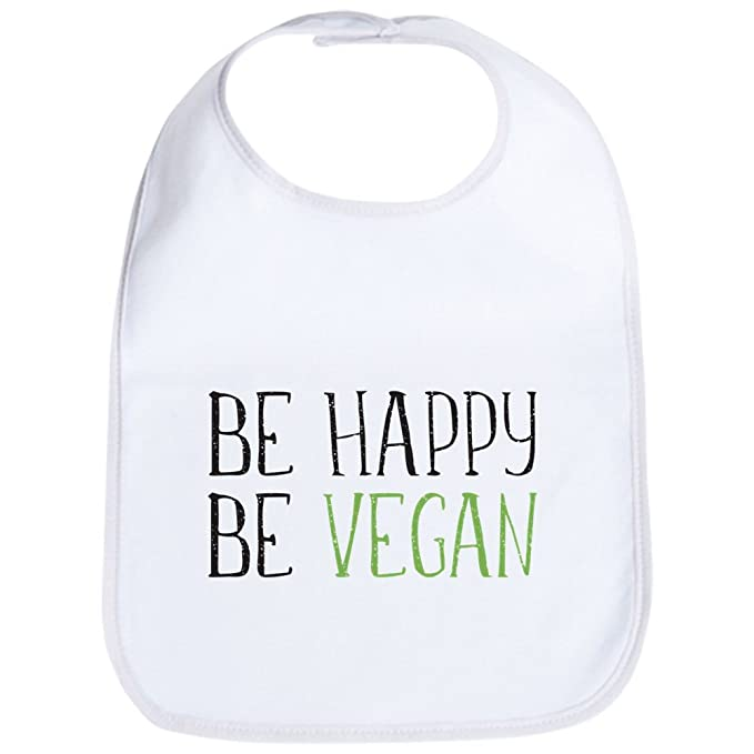 e65746b04 Amazon.com: CafePress - Be Happy Be Vegan - Cute Cloth Baby Bib ...