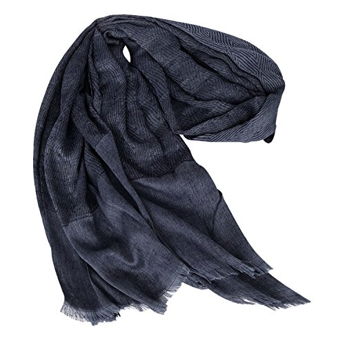 GERINLY Men Scarves Twill Cotton-Linen Long Winter Scarf (NavyBlue) by GERINLY (Image #5)