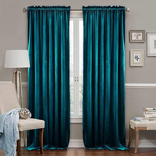 Soft Velvet Curtains for Bedroom, Sunlight Block Heat Reduce Rod Pocket Window Treatments Wall Panels for Interior French Door Privacy Drapes, 52 inch Width by 96 inch Length, Peacock Blue, One Pair