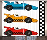 Lunarable Boy's Room Curtains, Race Cars at Start Line Adrenaline Exotic Sports Championship Artsy Theme, Living Room Bedroom Window Drapes 2 Panel Set, 108 W X 63 L Inches, Marigold Blue Red