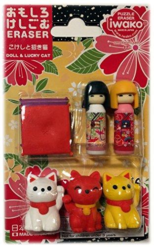 japanese-iwako-maneki-neko-kokeshi-eraser-set