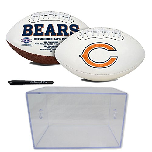 Nfl Signature Ball - Official National Football League Fan Shop Authentic NFL Signature Series Super Bowl Ball and Display Case. Great Collectible Bundle for the office or Man Cave (Chicago Bears)