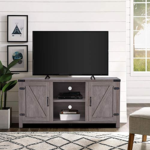 P PURLOVE 58 Inch Farmhouse Barn Wood Universal Stand for TV s Up to 65 ,Retro TV Stand with Side Doors and Three Adjustable Shelves for Storage