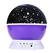SinoPro Galaxy Constellation Night Light - 4 Bright Colours with 360 Degree Moon Star Projection and Rotation - Kids Baby Bedroom and Nursery - Calming and Relaxing-DC5V/AAA Battery Powered (Pink)