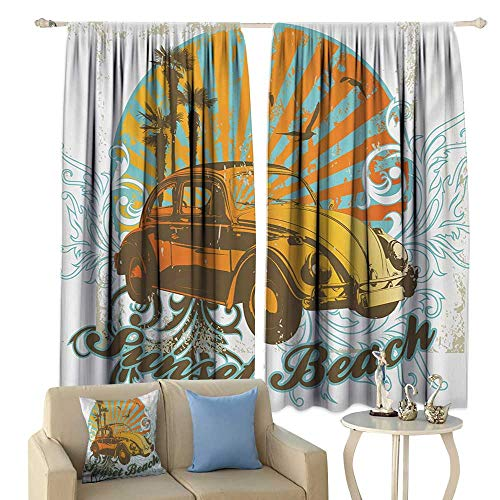 (Sliding Curtains Cars Summer Inspired Drawing with Retro Car Palm Trees Sunset Beach and Sun Rays Darkening and Thermal Insulating Amber Orange Aqua)