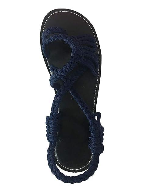 cheap for discount fe030 c2155 Damen Boho Sandaletten Zehentrenner Sommer Sandalen Riemchensandalen Flip  Flops 35-43