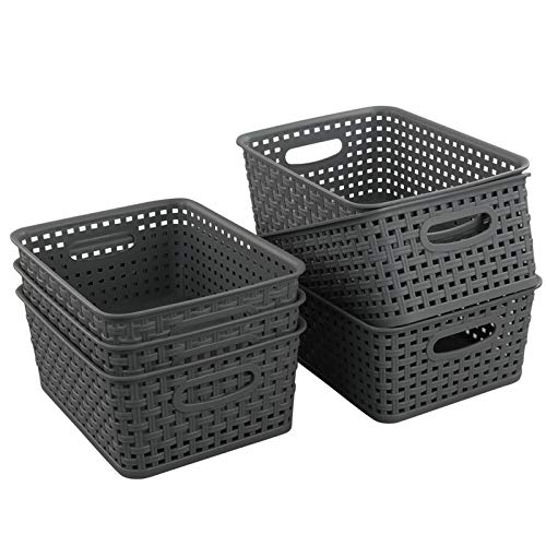 Teyyvn Plastic Storage Basket, 10.03″ x 7.59″ x 4.09″, Pack of 6, Gray