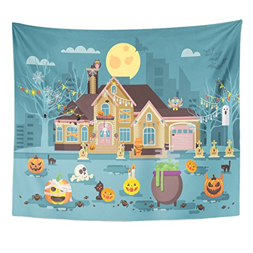 Cottage Cauldron (TOMPOP Tapestry Stock Cartoon House with Courtyard Decorated Pumpkins Skeletons Cauldron Celebrate Holiday Party Happy Home Decor Wall Hanging for Living Room Bedroom Dorm 50x60 Inches)